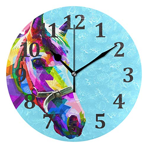 (Blueangle Colorful Horse Head Wall Clock 10 Inch Quality Quartz Silent Non Ticking, Battery Operated for Home/Living Room/Over Fireplace, Beautiful Decorative Timeless Stylish)