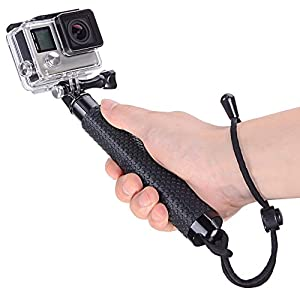 Vicdozia 19'' Waterproof Hand Grip Extendable Selfie Stick Handle Monopod Adjustable Pole for GoPro Hero 6, Hero 5, Session, Hero 4 3+ 3 2 1 AKASO GeekPro SJCAM SJ4000 SJ5000 Xiaomi Yi Camera(Black)