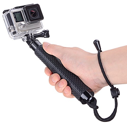Vicdozia 19'' Waterproof Hand Grip Extendable Selfie Stick Handle Monopod Adjustable Pole for GoPro Hero 6, Hero 5, Session, Hero 4 3+ 3 2 1 AKASO GeekPro SJCAM SJ4000 SJ5000 Xiaomi Yi Camera(Black)