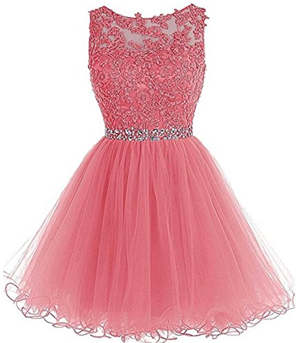 (Chugu Short Prom Party Dress Homecoming Dresses for Women Junior A Line Tulle Beaded C6 Pink 6)