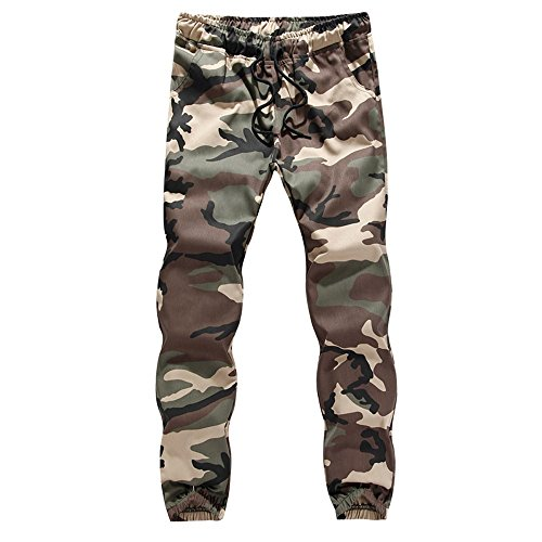iYBUIA Cotton Mens Casual Jogger Camo Sportwear Baggy Harem Pants Slacks Trousers - Evisu Men Short