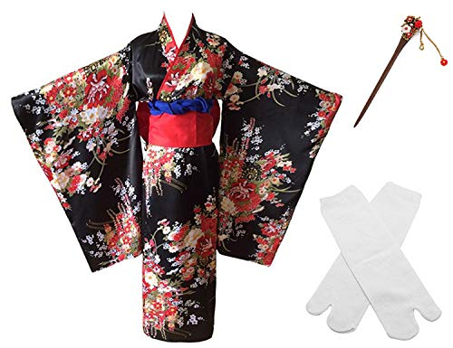 Japanese Anime Lolita Cherry Sakura Flower Printing Kimono Costumes Fancy Dress Hairpin tabi Socks Set(CHF006) XL -