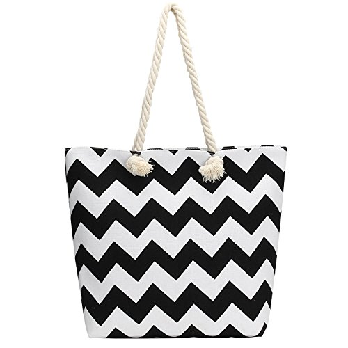 Bagerly Womens Lightweight Casual Canvas Shoulder Tote Beach Bag (Black)