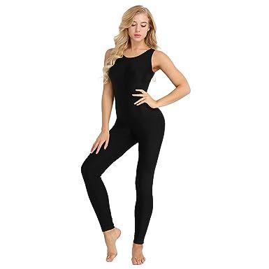 419edb026f08 iixpin Catsuit Femme Jumpsuit Bodysuit de Danse Gymnastique Gym Extensible  Bodycon sans Manches Combinaison Elastique Salopette Vêtement de Sport Yoga  ...