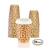 MyHomeIdeas Double Wall Kraft Paper Cups - Premium Insulated Hot Paper Cup With 100% Leakproof Lids - 12 Oz / 50 Count - No Soaking or Smells - No Sleeves Needed - For Tea, Cappuccino, Latte