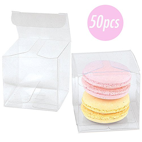 COMFECTO 50 Pcs 2x2x2 inch Clear Crystal Plastic Tuck Top PVC Boxes, Excellent for Cupcake Chocolate Wedding Favor Party Gift Display, Effortless Assembly Easy to Fold Boxes with Predefined Creases by COMFECTO