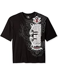 Southpole Men's Big and Tall Short Sleeve All Over Foil and Screen Print Graphic Tee with Asymmetric Vertical...