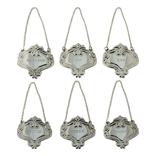 Silver Engraved Fancy Floral Decanter Labels Liquor Bottle Label Tag Set/6 (Silver Decanter Labels)