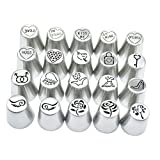 Fityle Cake Decorating Tip Set Icing Piping Nozzles Professional Frosting Tips,DIY Reusable Baking Tool Supply Stainless Steel Kit for Cupcakes Cookies