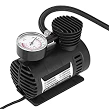 Qiilu 12V Air Compressor Tire Inflator Pump Electric Portable Quiet Emergency 2A Mini Little Compressors with Pressure Gauge and 108inch Cable for Auto 12V Car Motorcycle Bicycle Basketballs Toys