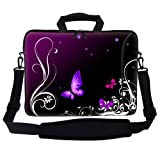 Meffort Inc 15 15.6 inch Neoprene Laptop Bag Sleeve with Extra Side Pocket, Soft Carrying Handle & Removable Shoulder Strap for 14'' to 15.6'' Size Notebook Computer - Purple Black Butterflies