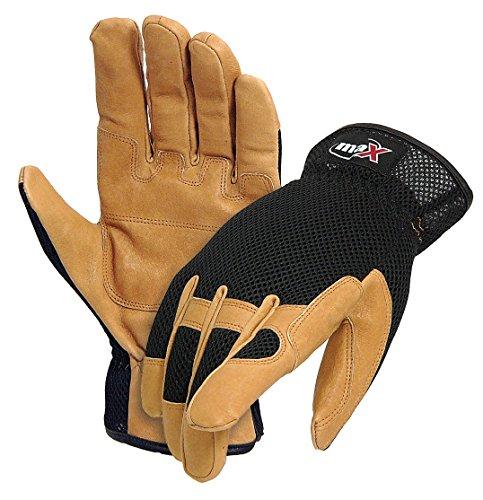Galeton 9120055-L Max Extra DP Utility/Mechanics Pigskin Double Palm Work Gloves, Large, Black/Beige Pigskin Utility Gloves