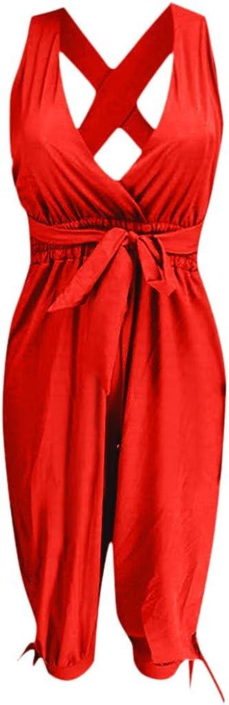 LONGDAY Women Summer Jumpsuit Short Romper Halter V-Neck Tank Top Casual Baggy Pants Harem Plus Size Bodysuit Belted