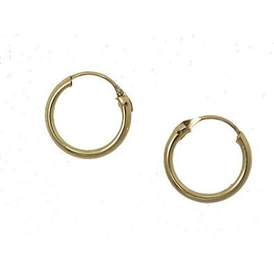 b1df071c4f9f Pendientes de aro abridor para bebe en oro amarillo 18 quilates  Amazon.es   Joyería