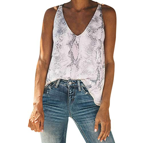 GHrcvdhw Summer Women Sexy Sleeveless V-Neck Vest Top Print Casual Comfortable Tank Tops ()