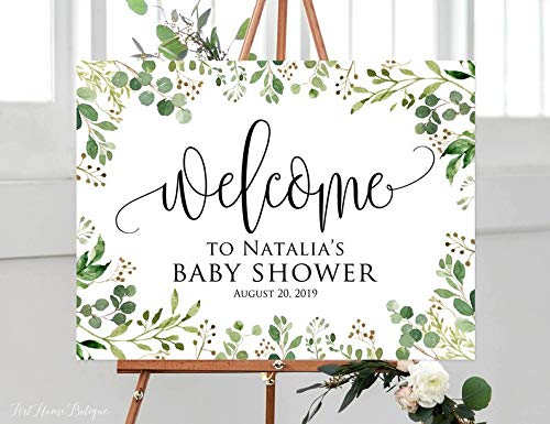 onepicebest Greenery Baby Shower Welcome Sign, Calligraphy Welcome to Baby Shower Sign, Eucalyptus Baby Shower