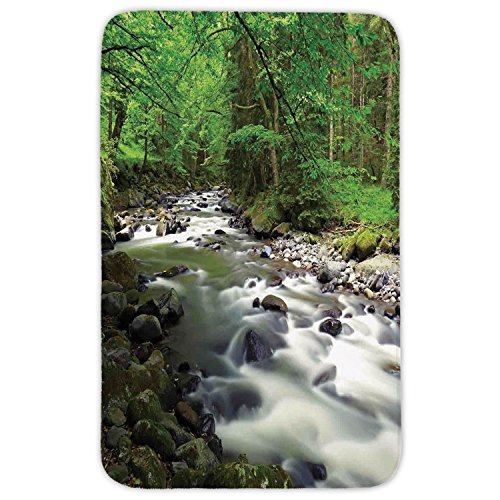 Rectangular Area Rug Mat Rug,Lake House Decor,Rushing Riverbed in Forest with Rocks Trees Mountain Branches Shrubs Nature,Green Gray White,Home Decor Mat with Non Slip Backing by iPrint