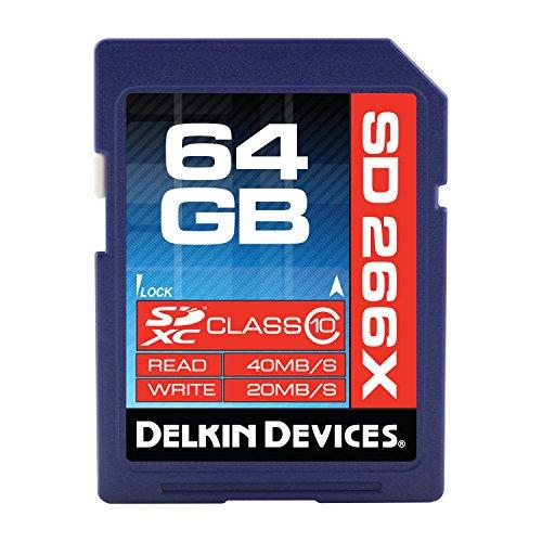 Delkin Pro Secure 64GB SDXC Pro Class 10 266X 40MB/S Read 20MB/S Write