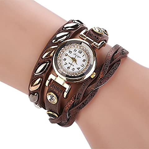 Duoya Women's Gemstone Watch Wrap Around Rolling Leather Bangle D019 Brown (Floral Wrap Around Watch)