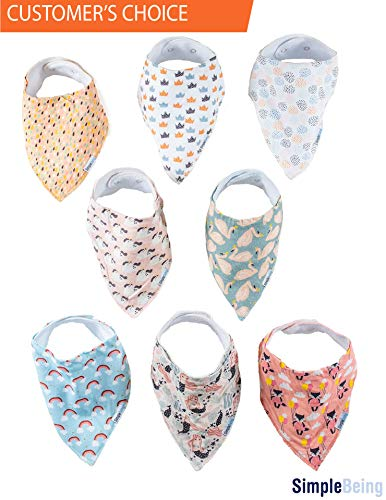 Simple Being Baby Bandana Drool Bibs (8-Pack, Whimsical), for Drooling Teething Boys and Girls, Soft Absorbent Hypoallergenic, Infant to Toddler Burp Cloths Unisex, Great Gift Registry Item