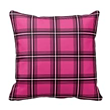 Deep Pink and Black Plaid Pattern Pillow Accent Decorative Pillow Cover Case