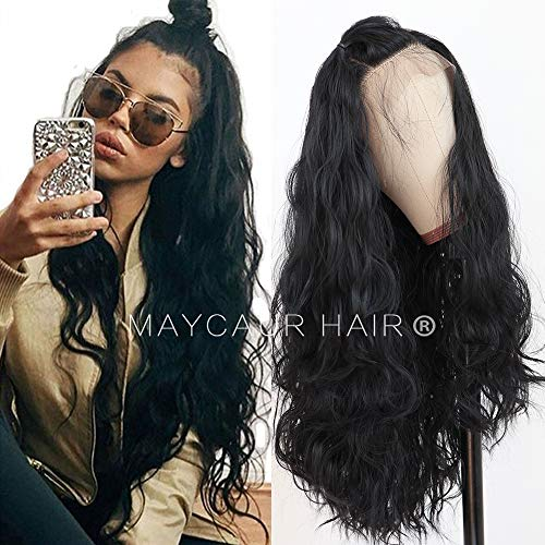 Maycaur Long Black Hair Lace Wigs Loose Wavy Hair Glueless Heat Resistant Synthetic Lace Front Wigs for Black Women ()