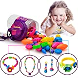 Girls Pop Snap Lock Beads - Hanmun DIY Jewelry Kit for Girls Necklace and Bracelet Art Crafts Education Toys (65 Pieces Set)