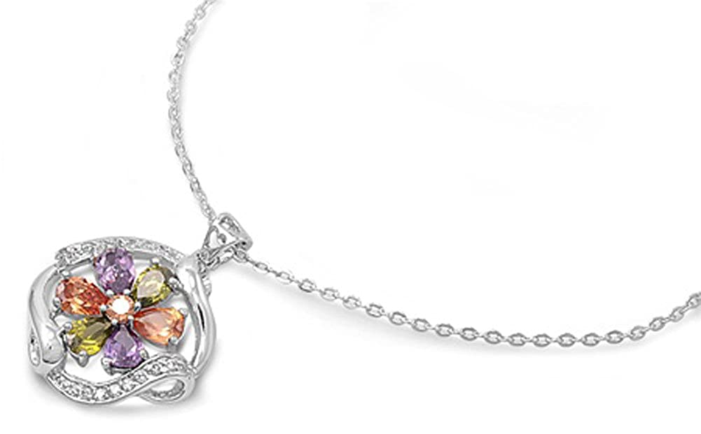 Flower Pendant Necklace Multicolor Simulated CZ .925 Sterling Silver