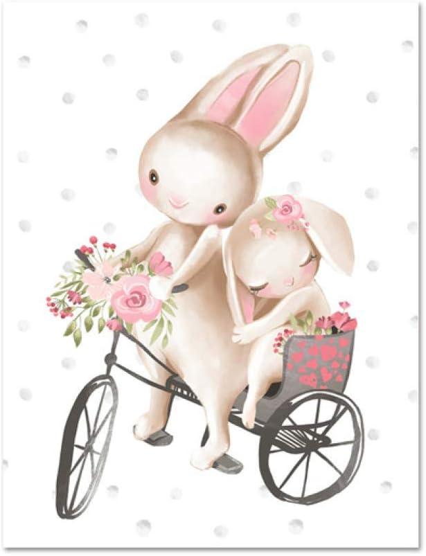 Lindo Animal de Dibujos Animados niño niña Dormitorio decoración Bosque Conejito Estampado Floral Boho Viento Arte de la Pared Conejo Lienzo Pintura Cartel (sin Marco): Amazon.es: Hogar
