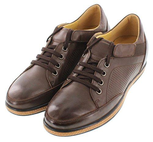 Toto-D23002-6,6cm Grande Taille-Hauteur Augmenter Chaussures ascenseur-Marron foncé à lacets