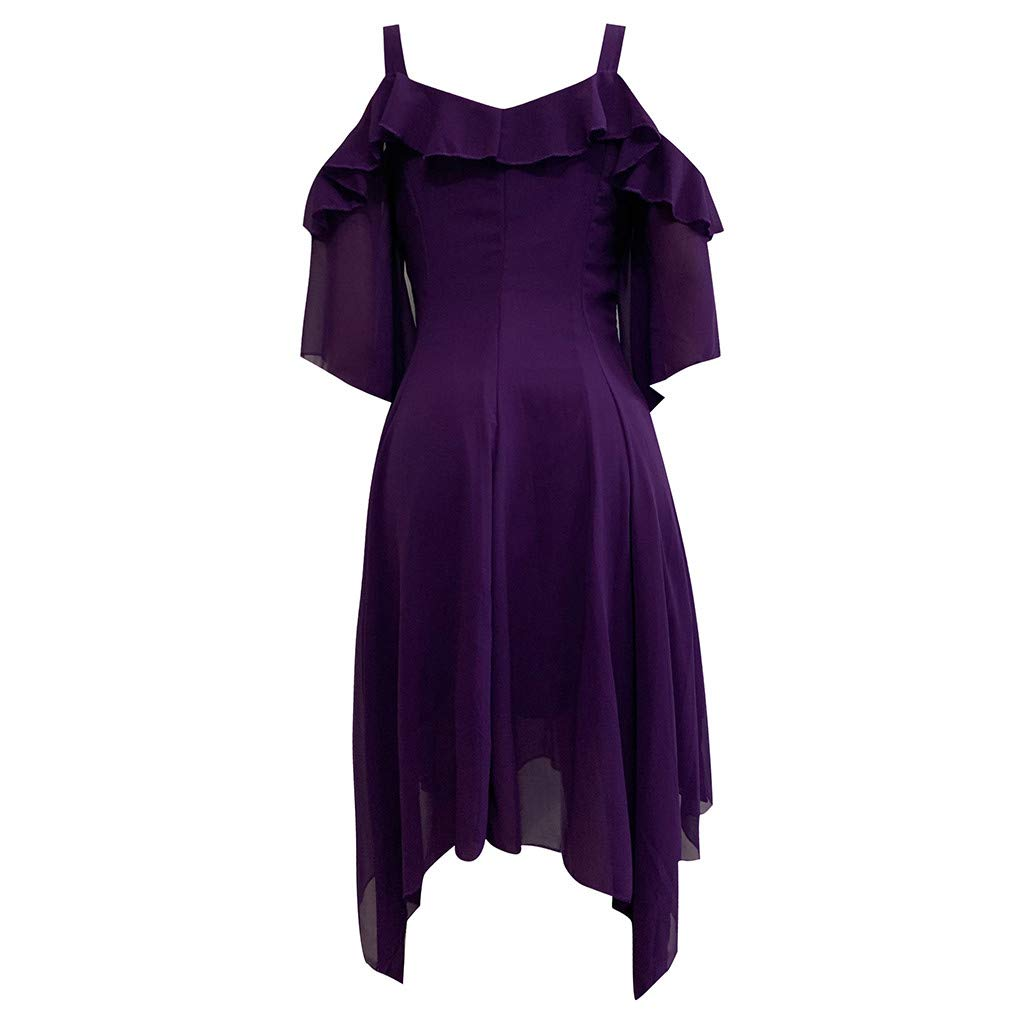 Gothic Midi Dress -【MOHOLL】 Womens Cold Shoulder Backless Asymmetrical Layered Lace Ruffle Dress Purple