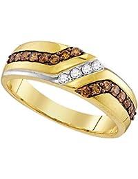 10k Yellow Gold Ring Mens Brown Diamond Wedding Band Anniversary Chocolate Round Pave Set 1/3 ctw