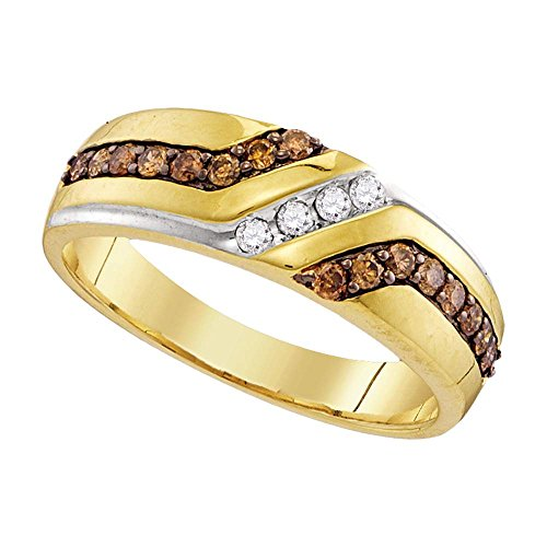 Sonia Jewels Size 10-10k Yellow Gold Mens Round Chocolate Brown Diamond Wedding Anniversary Band Ring (1/3 Cttw)