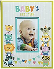 Pinnacle Frames & Accents Baby's First Year Hardcover Milestone Memory Book Journal Leather Photo Album