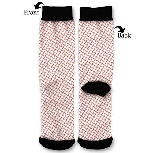 White Stripes Gingham Orange Tattersall Red Socks Funny Fashion Novelty Advanced Moisture Wicking Sock for Man Women