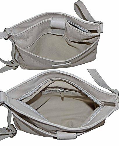 cuir Marron sac sacs triple sangle transversale frontale Sacchi petite en souple bandoulière sangle main à Foncé Donc fait de main compartiment amp; réglable italienne à corps ou Primo wF1qUI1