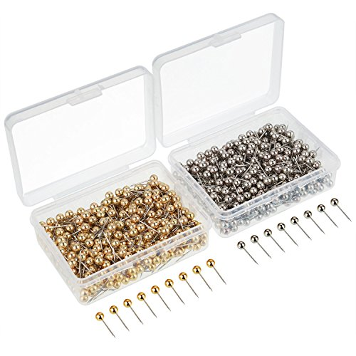 eBoot 800 Pieces Map Tacks Push Pins Round Plastic Head with Stainless Steel Point, 0.16 Inch Head (Silver/Gold) ()
