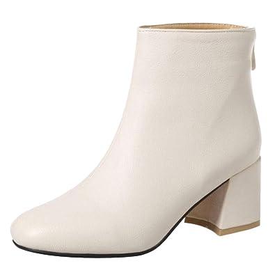 RAZAMAZA Mujer Moda Tacón Ancho Botas Vestido: Amazon.es: Zapatos y complementos