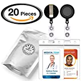 10 Retractable Reel ID Badge Card Holder + 10 Double Sided Vertical Clear Vinyl ID Pass Holder Bulk Kit. 30-inch Nylon Badge Reel Cord, Metal Belt Clip, and Heavy Duty Plastic Name Badge Holder