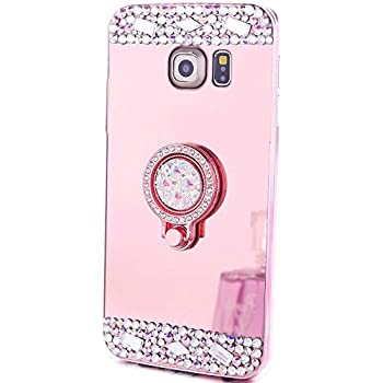Galaxy S7 Case, MACBOU Luxury Crystal Rhinestone Soft Rubber Bumper Bling Diamond Glitter Mirror Makeup Case with Ring Stand Holder for Samsung Galaxy S7 (Rose Gold)