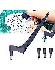 Art Craft Snijgereedschap Papier Carving Rvs Cutter Met 3 Pcs 360-Graden Vervanging Roterende Blade Voor Craft, scrapbooking, Stencil, Precisie Cutter Tool Voor Diy, Carving