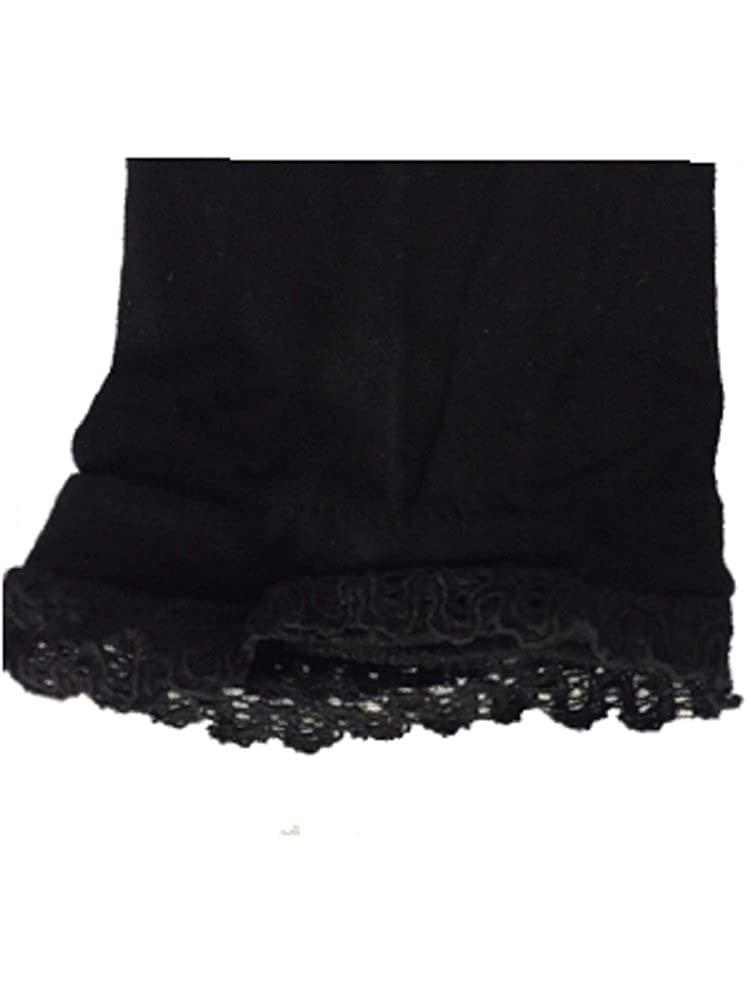 Jefferies Black Footless Tight with Lacey Trim