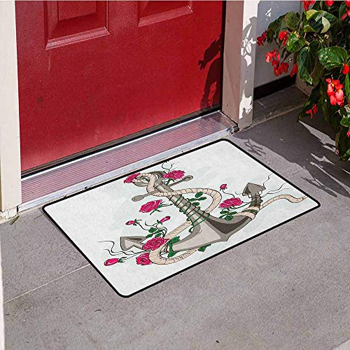 Gloria Johnson Anchor Welcome Door mat Sea Anchor Entwined with Flourishing Roses Romantic Summer Ocean Inspired Door mat is odorless and Durable W29.5 x L39.4 Inch Taupe Beige Hot Pink