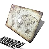 Macbook 13 Retina Pro Case, [The World Map Design] Soundmae Frosted Plastic Hard Shell Skin Smooth Touch Case & Keyboard Cover for MacBook Retina Display 13.3 Model A1425&A1502, Map