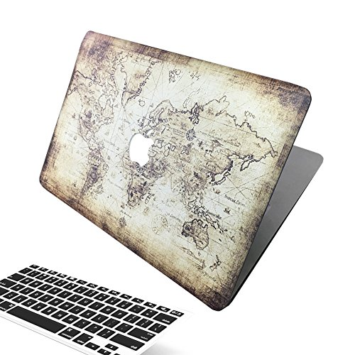 Macbook Air 13 Inch Case, [The World Map Design] Soundmae Frosted Plastic Hard Shell Skin Smooth Touch Case & Keyboard Cover for MacBook Air 13.3 Model A1369&A1466, Map from soundmae