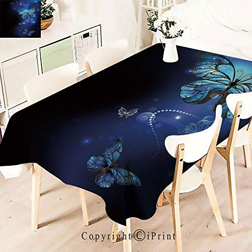 Maroon Monarch Tablecloths - Durable Rectangle Tablecloth Print Table Cover for Home and Party Decoration,Magical Butterflies Monarch Artistic Morpho Inspiration,Indoor Outdoor Party Picnic Easy Care Washable Table Cloth,W55 xL5
