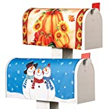 Collections Etc Festive Fall Pumpkin and Winter Snowmen Mailbox Covers - Set of 2