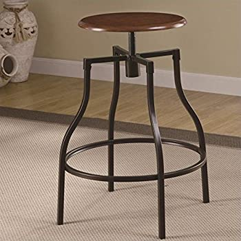 Amazon Com Coaster Adjustable Bar Stool Black Kitchen