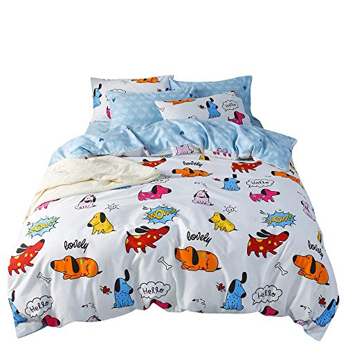 (OTOB Blue White Twin Duvet Cover Set Puppy Dog Duvet Cover with 2 Pillow Shams Bedding Set for Kids Teens Bed, Twin)