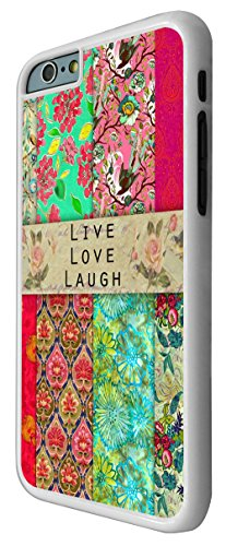 583 - Shabby Chic Vintage Live Love Laugh Floral Roses Design iphone 6 Plus / iphone 6 Plus 5.5'' Coque Fashion Trend Case Coque Protection Cover plastique et métal - Blanc